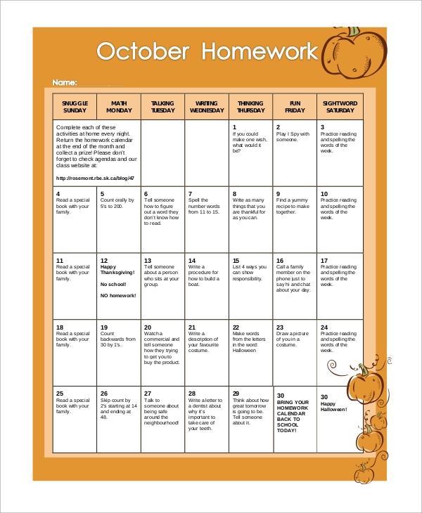 Free 8 Sample Homework Calendar Templates In Ms Word Pdf