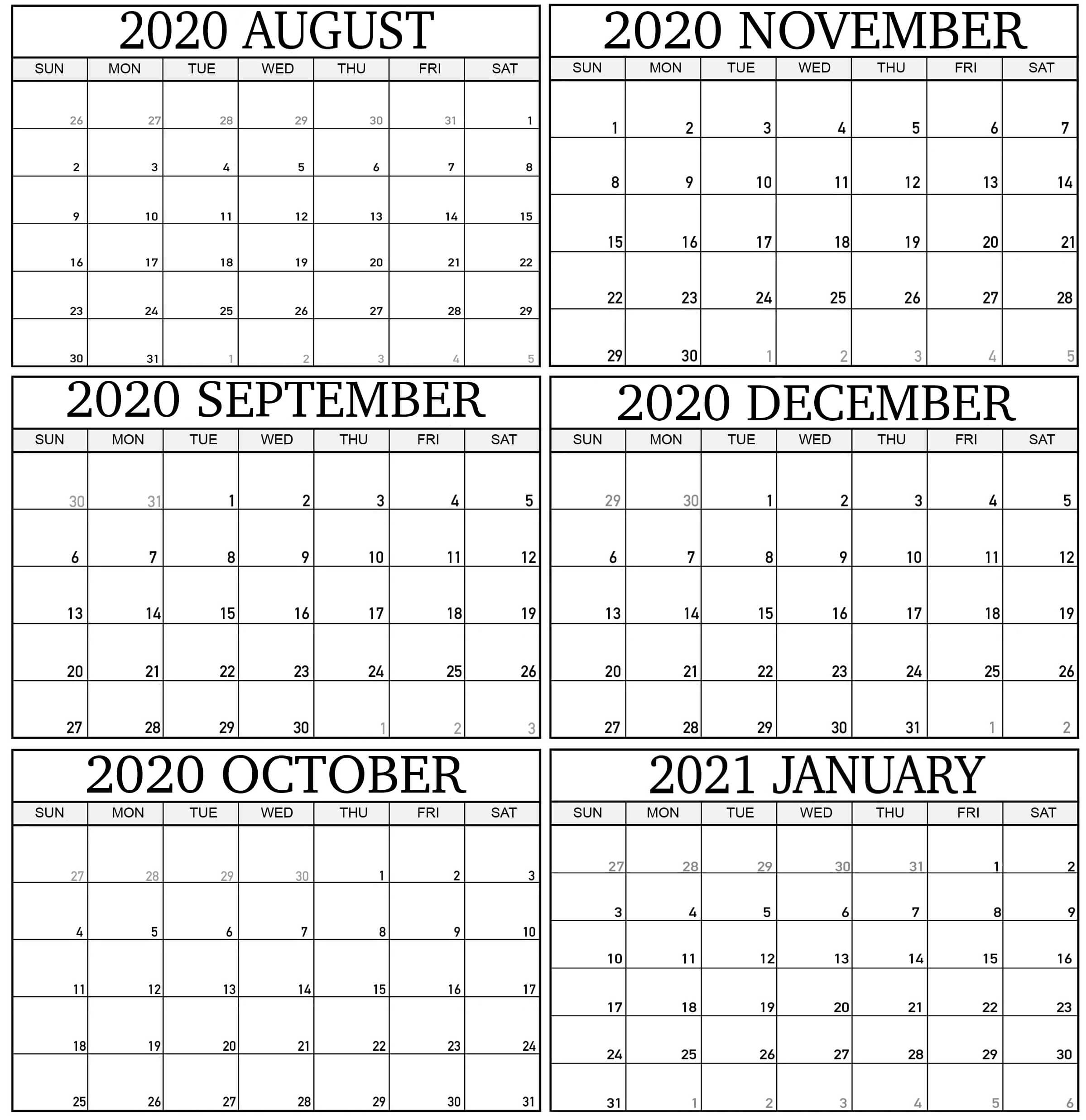 Free August 2020 To January 2021 Calendar Word With Notes 1