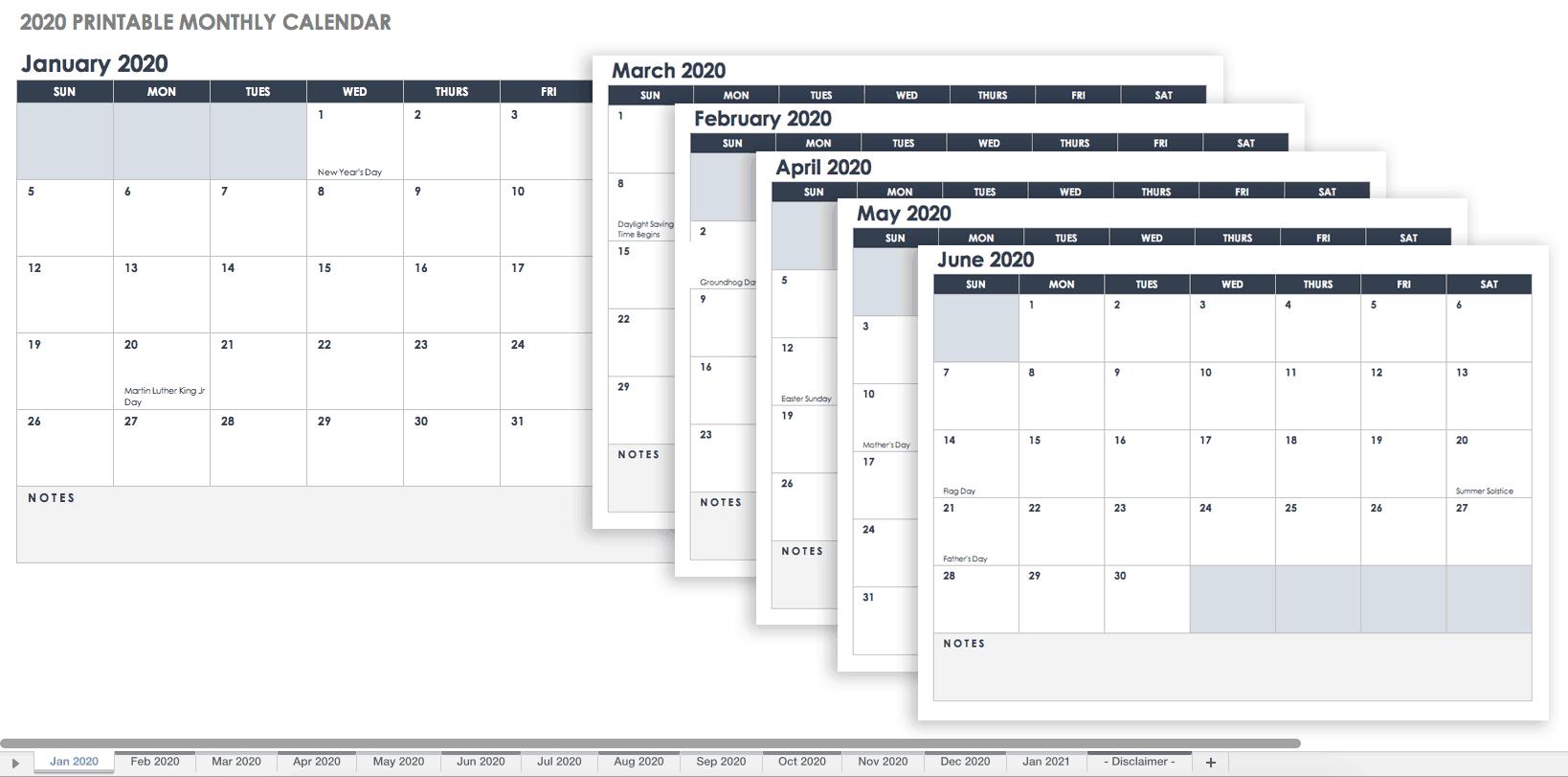 Free Blank Calendar Templates Smartsheet 1