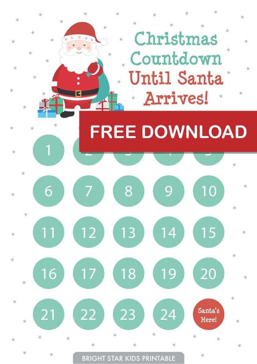 Free Christmas Countdown Advent Printable Bright Star Kids