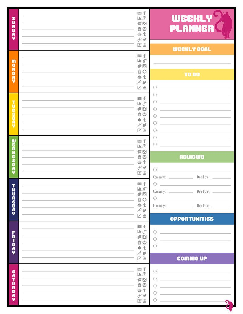 Free Colorful Planner Pages Calendar 001 Weekly Planner