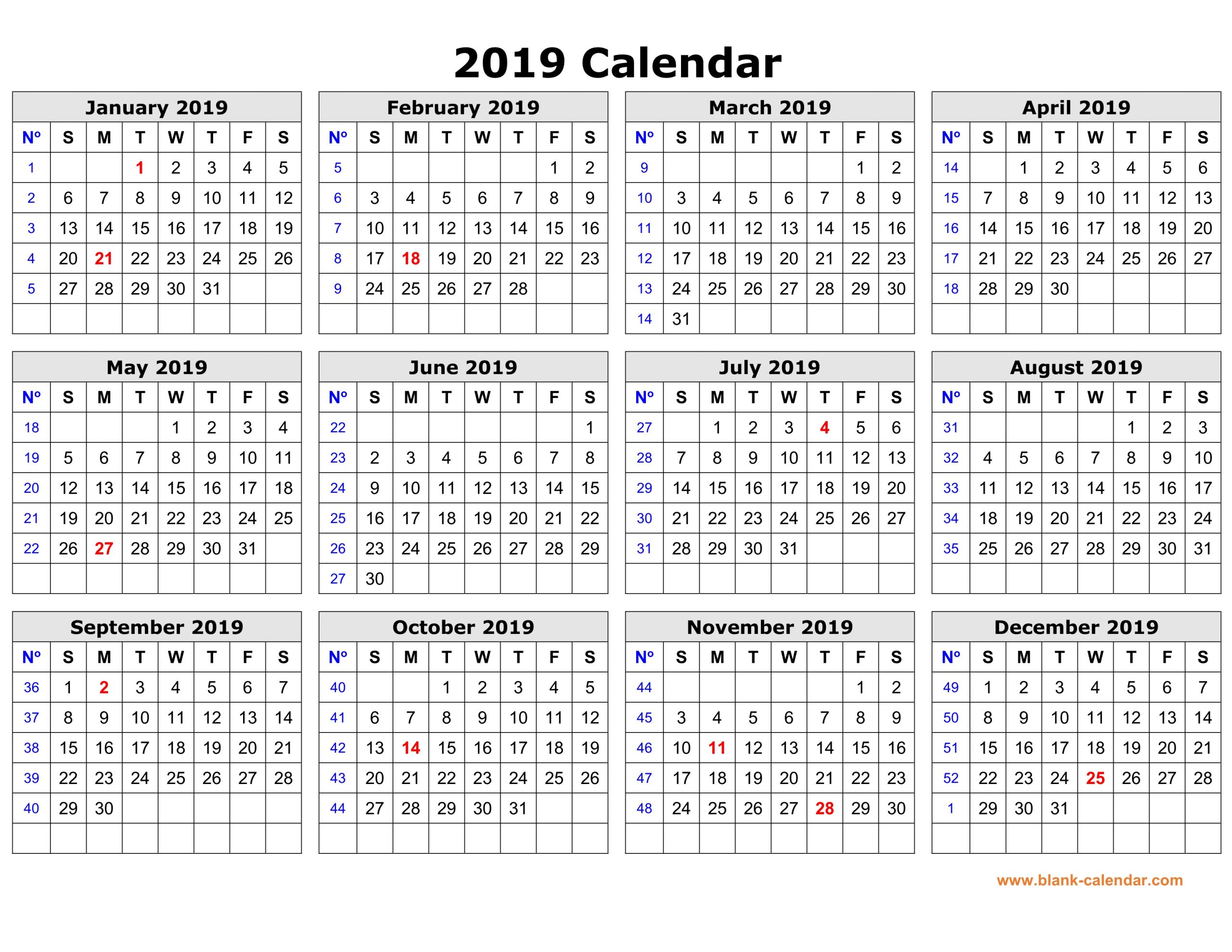 Free Download Printable Calendar 2019 In One Page Clean