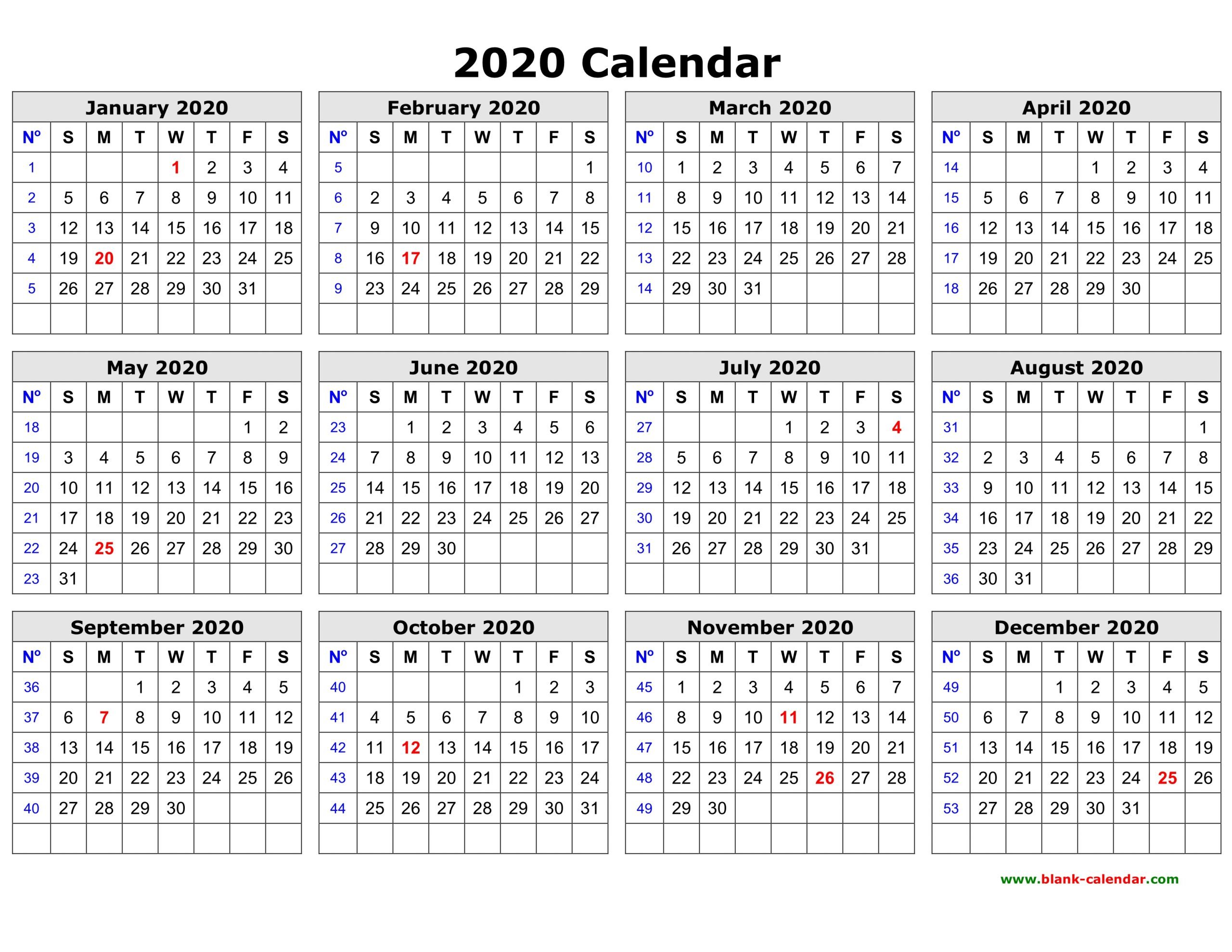 Free Download Printable Calendar 2020 In One Page Clean