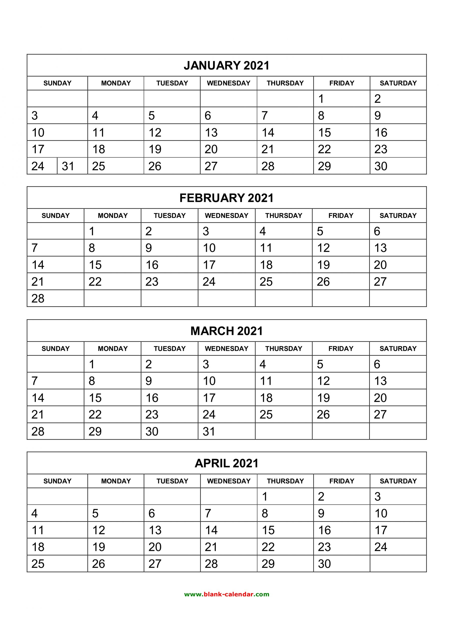 Free Download Printable Calendar 2021 4 Months Per Page