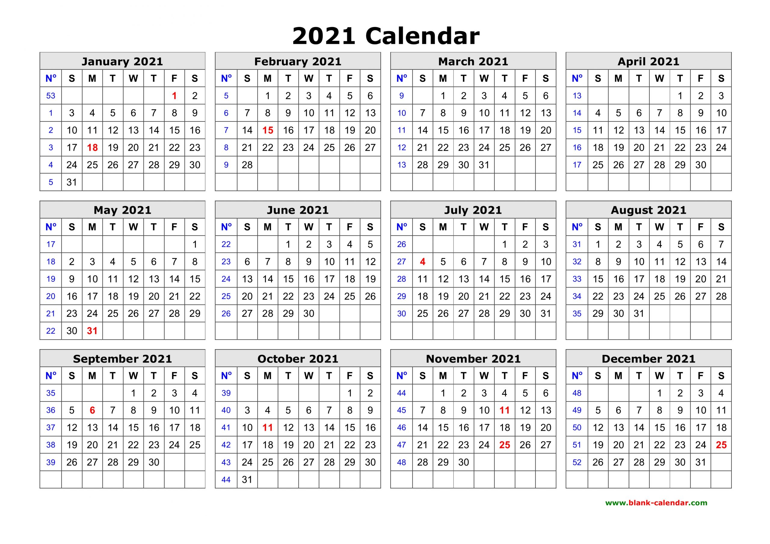 Free Download Printable Calendar 2021 In One Page Clean 1