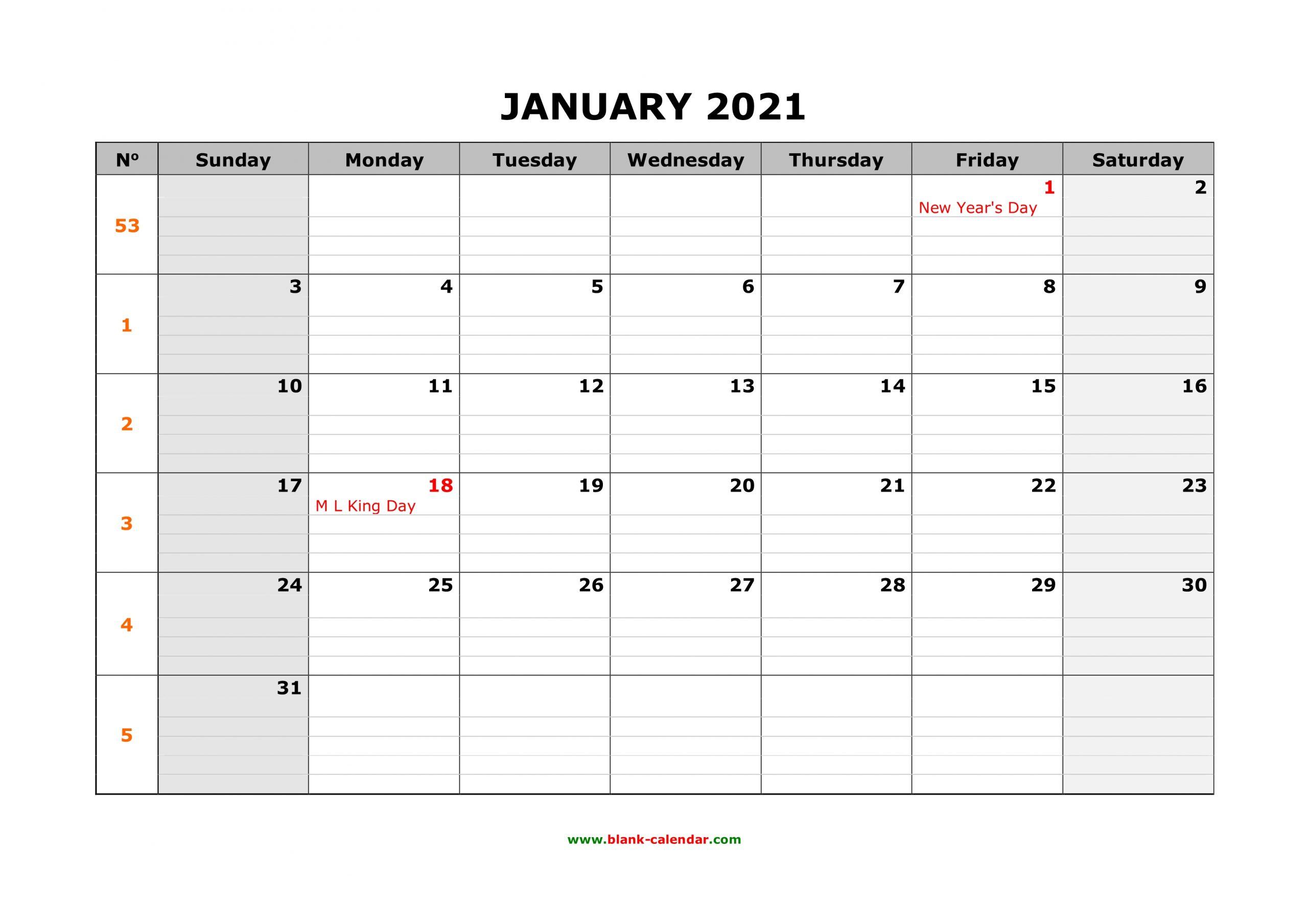 Free Download Printable Calendar 2021 Large Box Grid