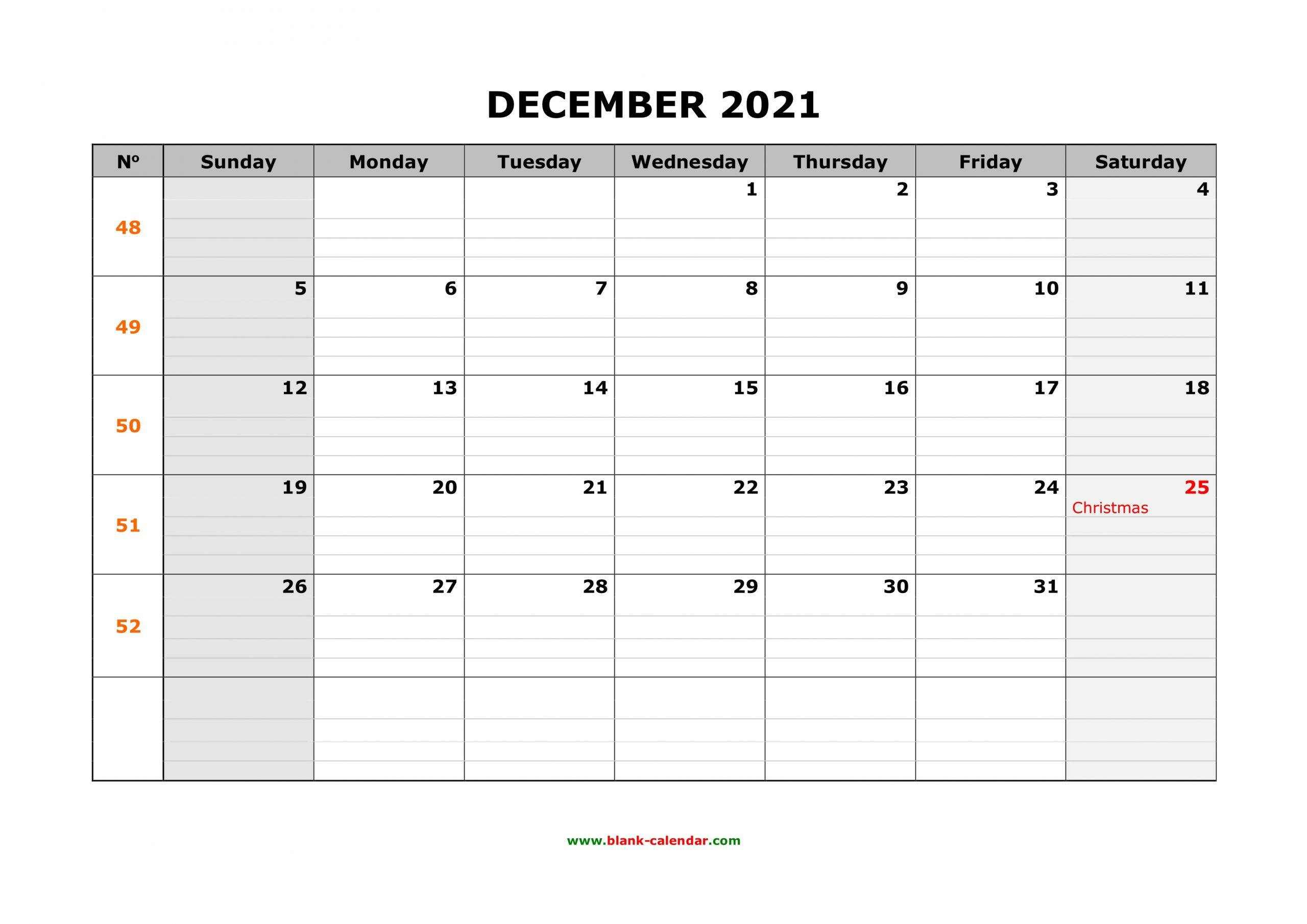 Free Download Printable December 2021 Calendar Large Box