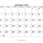 Free Download Printable January 2021 Calendar With Check Boxes