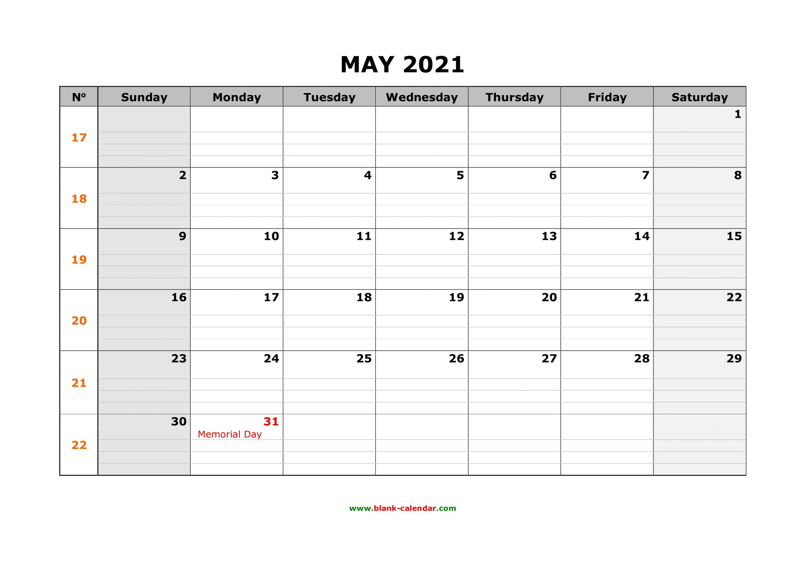 Free Download Printable May 2021 Calendar Large Box Grid