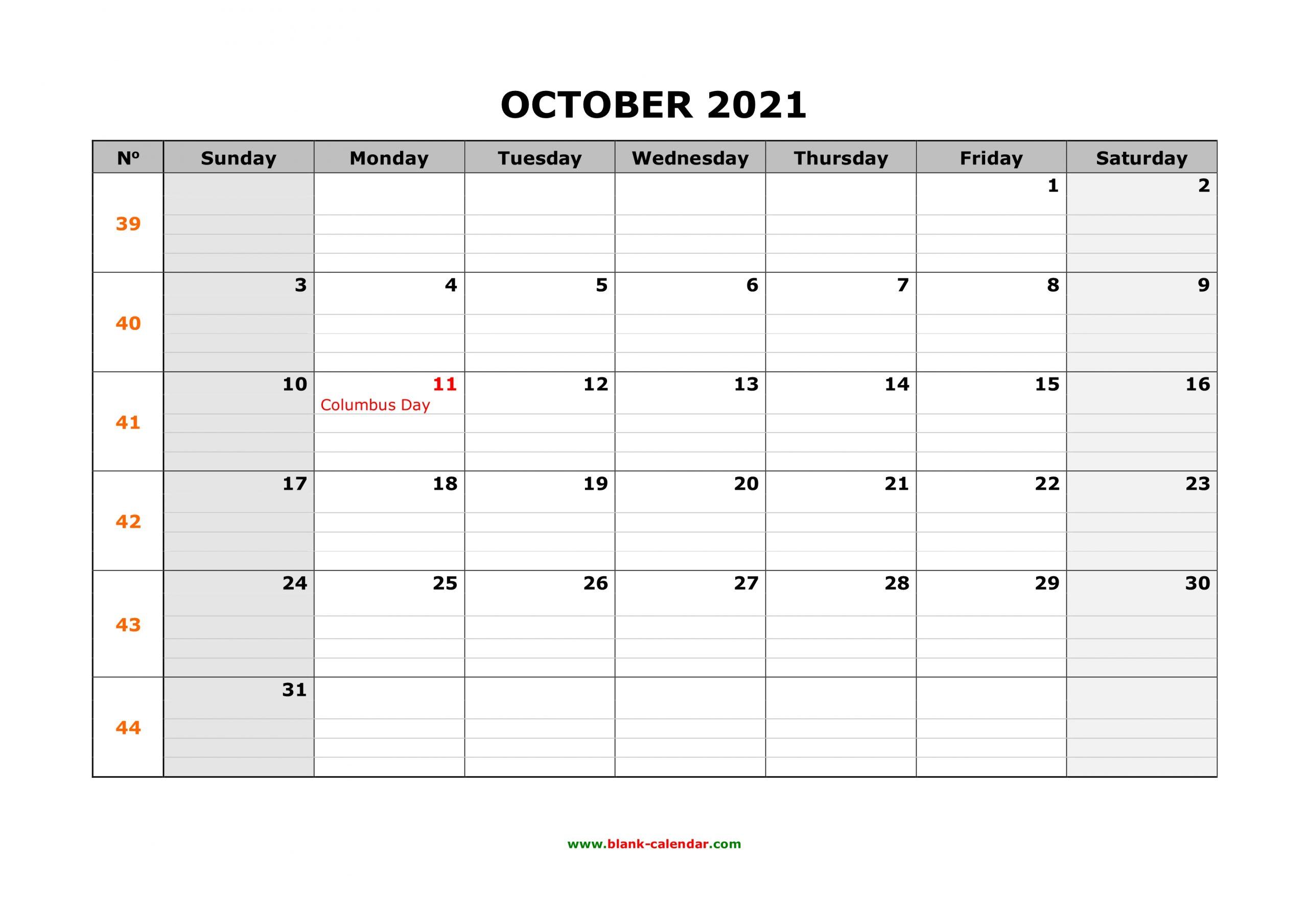 Free Download Printable October 2021 Calendar Large Box