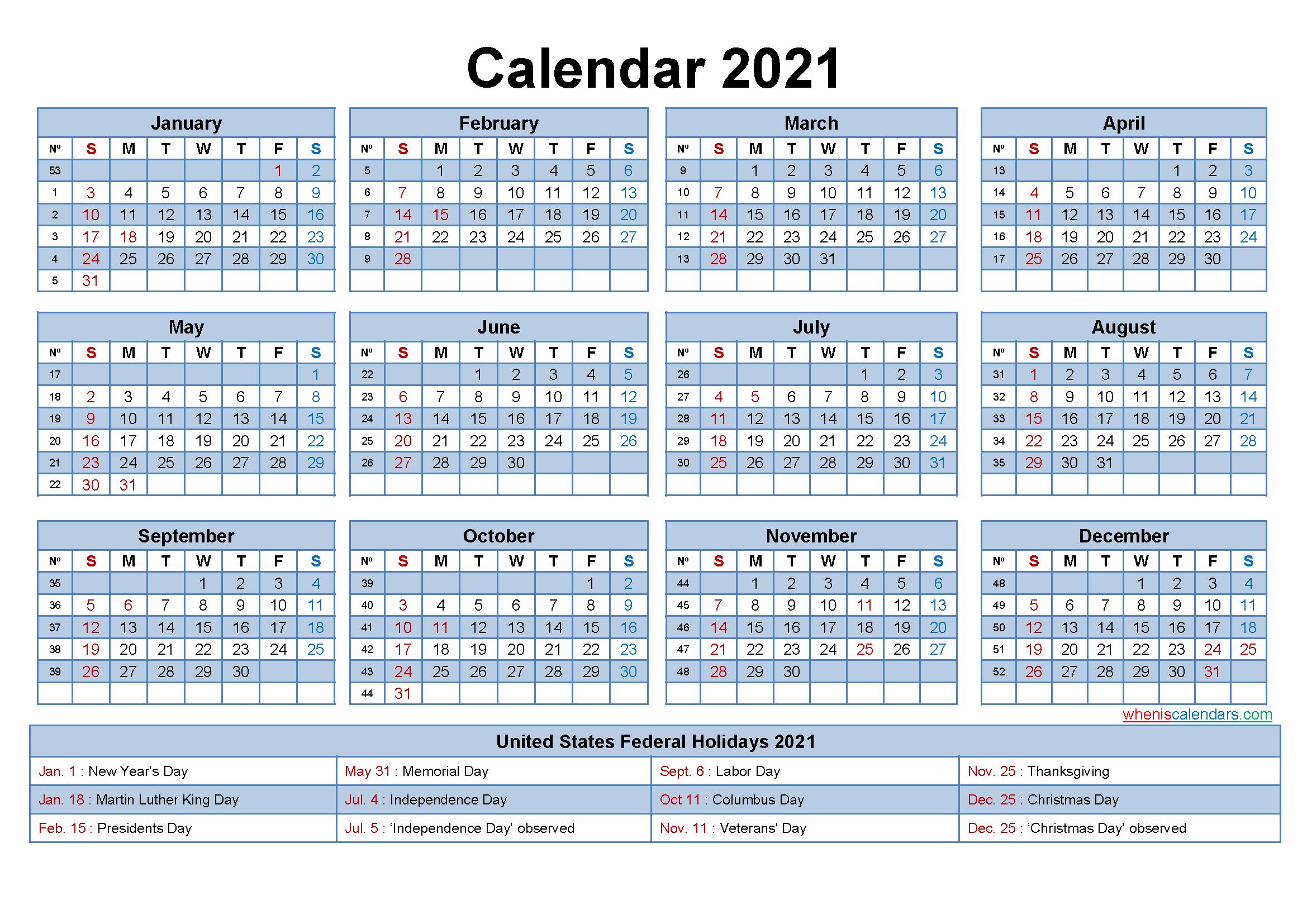 Free Editable Printable Calendar 2021 Template No
