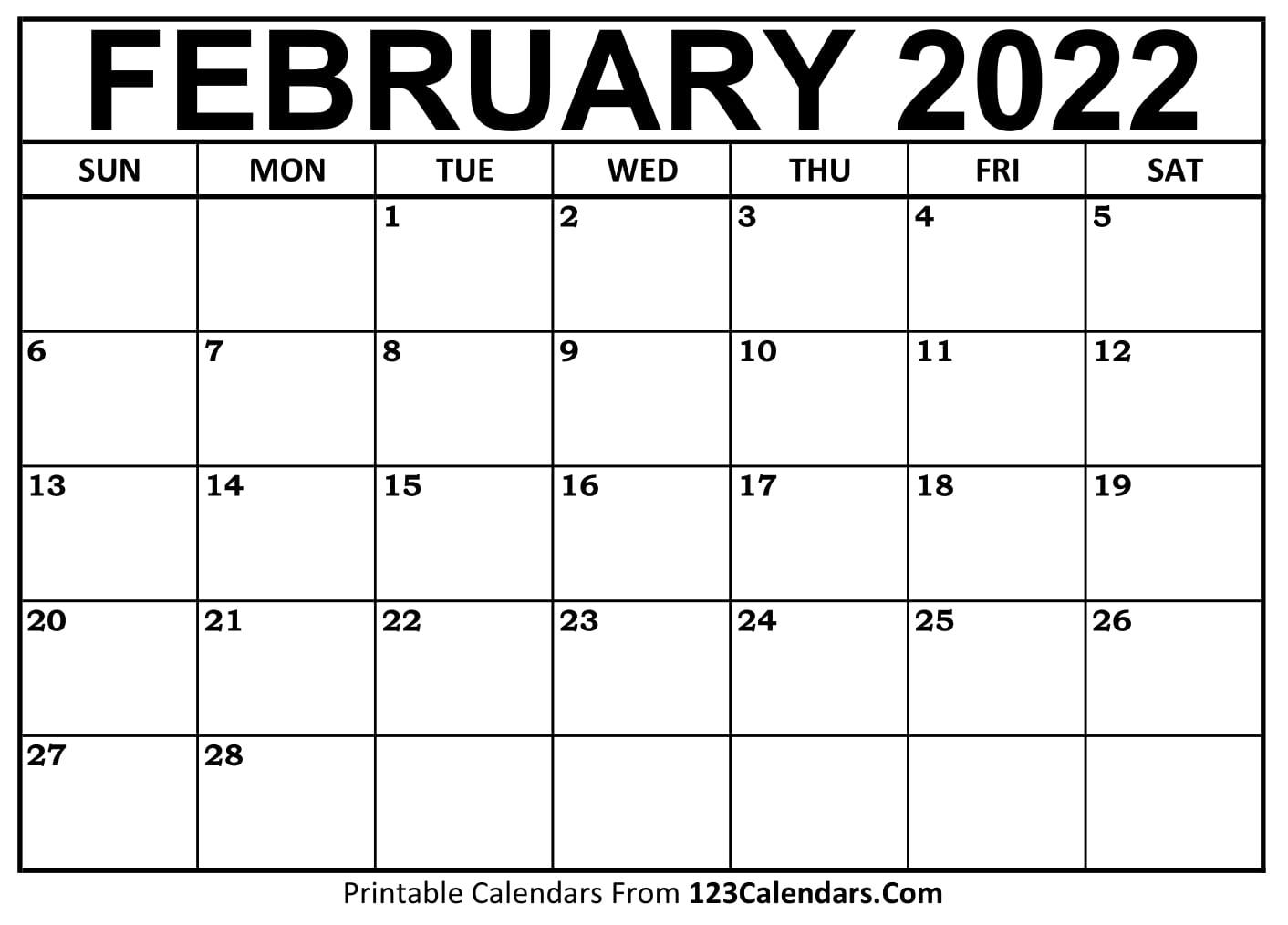 Free February 2021 Calendar 123calendars