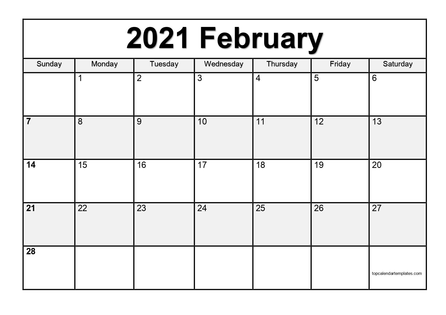 Free February 2021 Calendar Printable Pdf Word 2