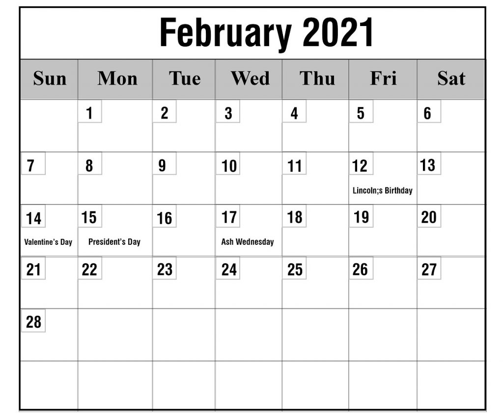 Free February 2021 Printable Calendar Template In Pdf 1