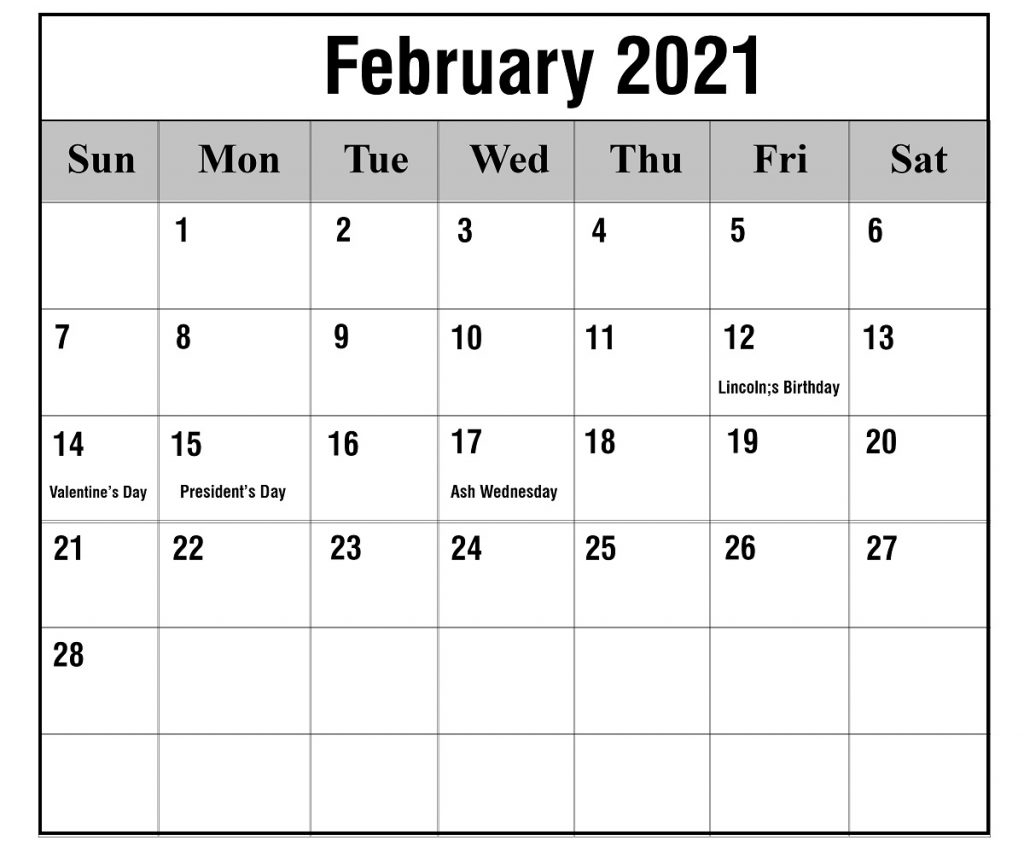 Free February 2021 Printable Calendar Template In Pdf 3