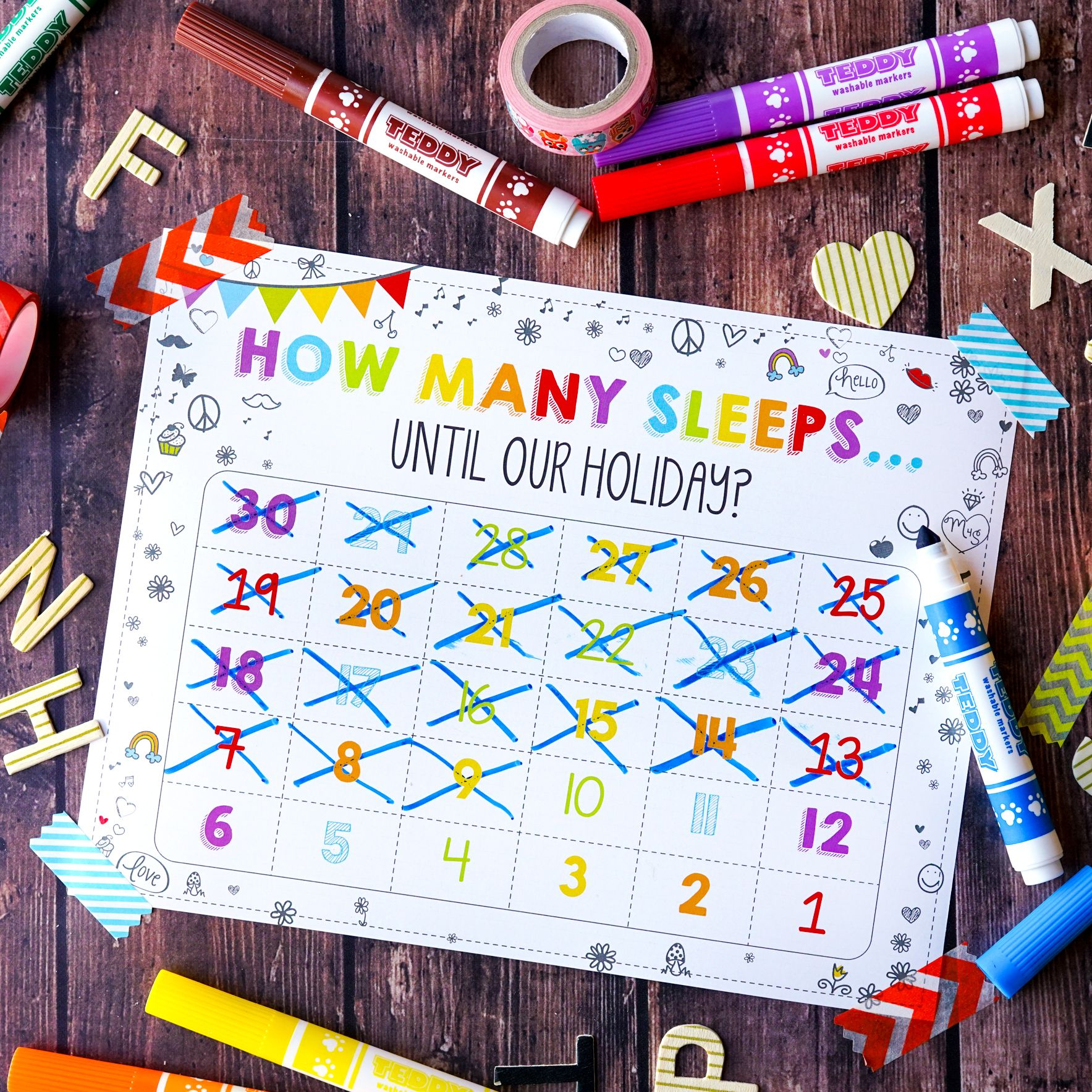 Free How Many Sleeps Countdown Calendar Countdown