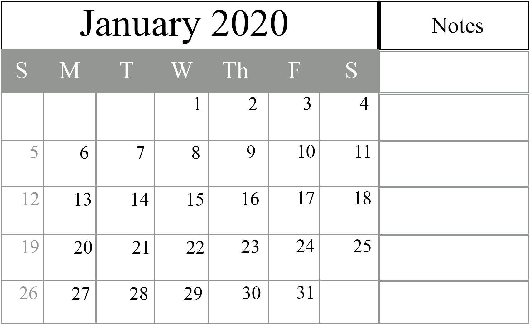 Free January 2020 Blank Calendar Printable Pdf Excel Word