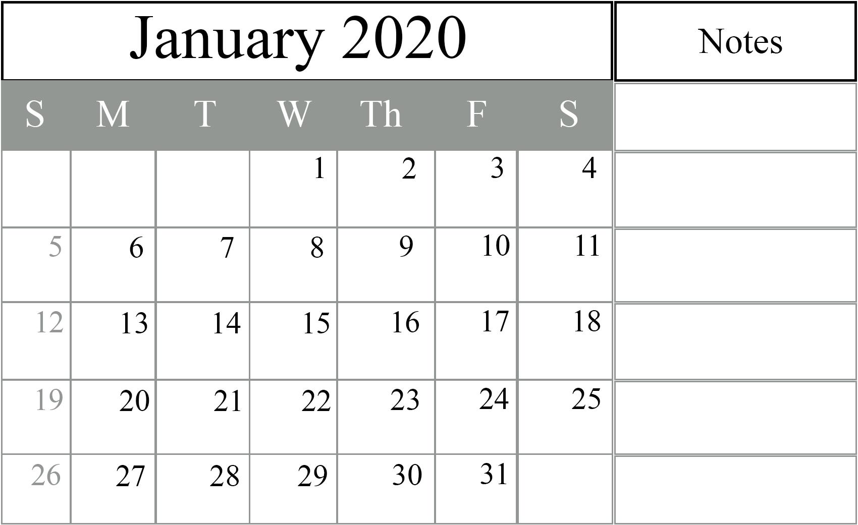 Free January 2020 Printable Calendar In Pdf Excel Word