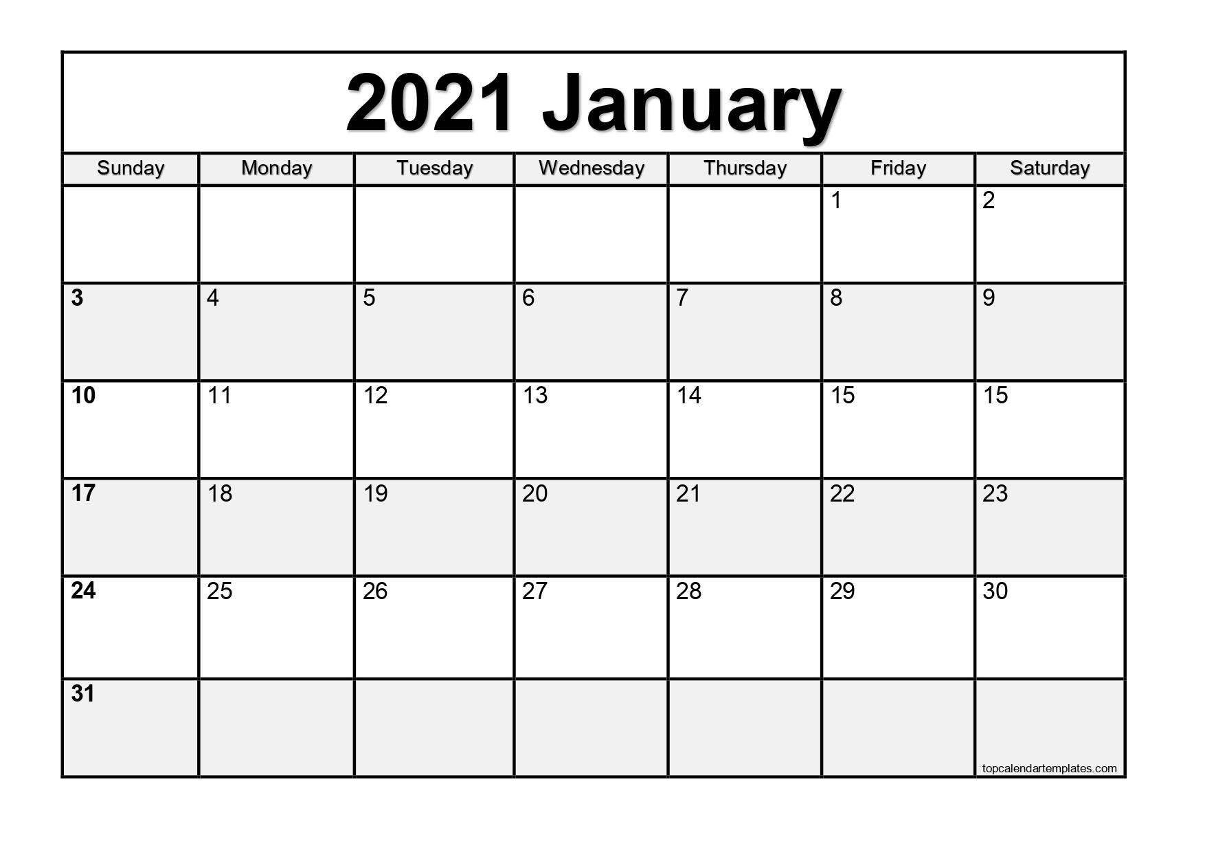 Free January 2021 Calendar Printable Blank Templates 1