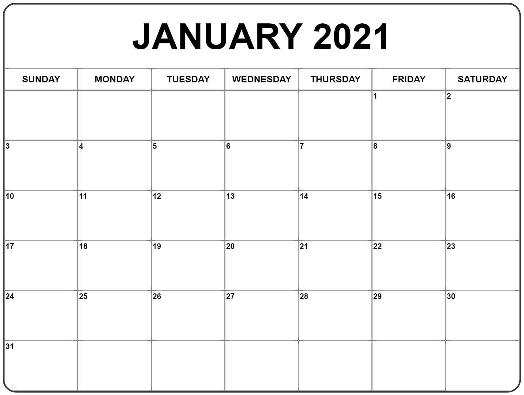Free January 2021 Calendar Printable Blank Templates 5