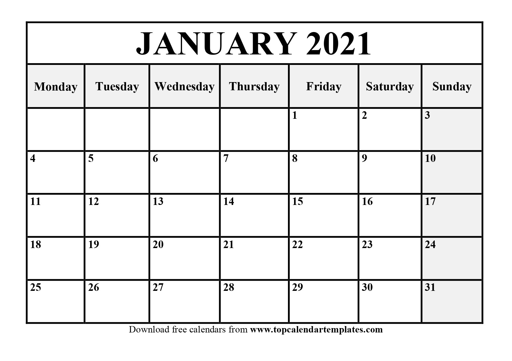 Free January 2021 Calendar Printable Pdf Word 1
