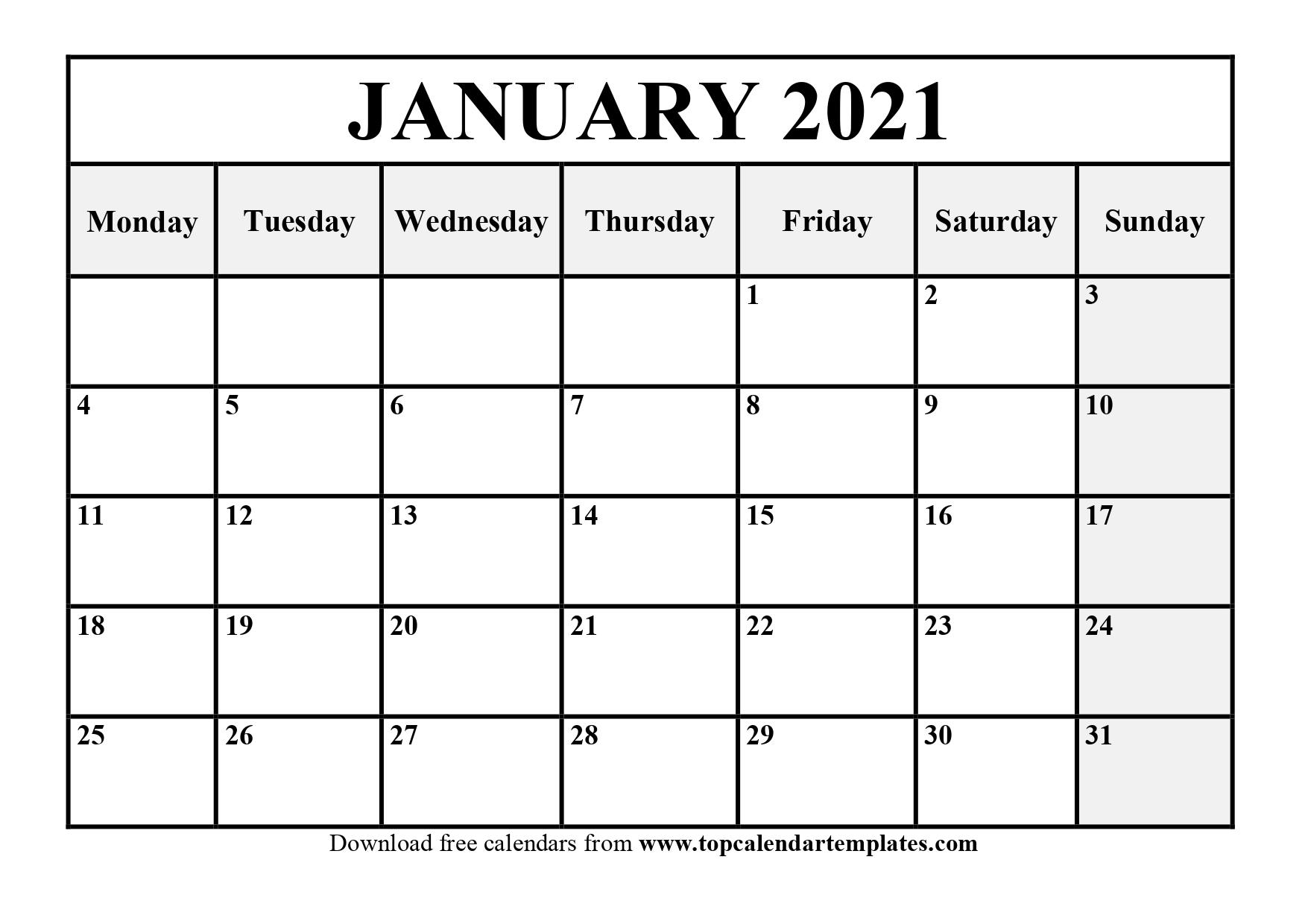 Free January 2021 Calendar Printable Pdf Word 2