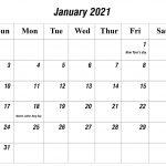 Free January 2021 Printable Calendar Template In Pdf