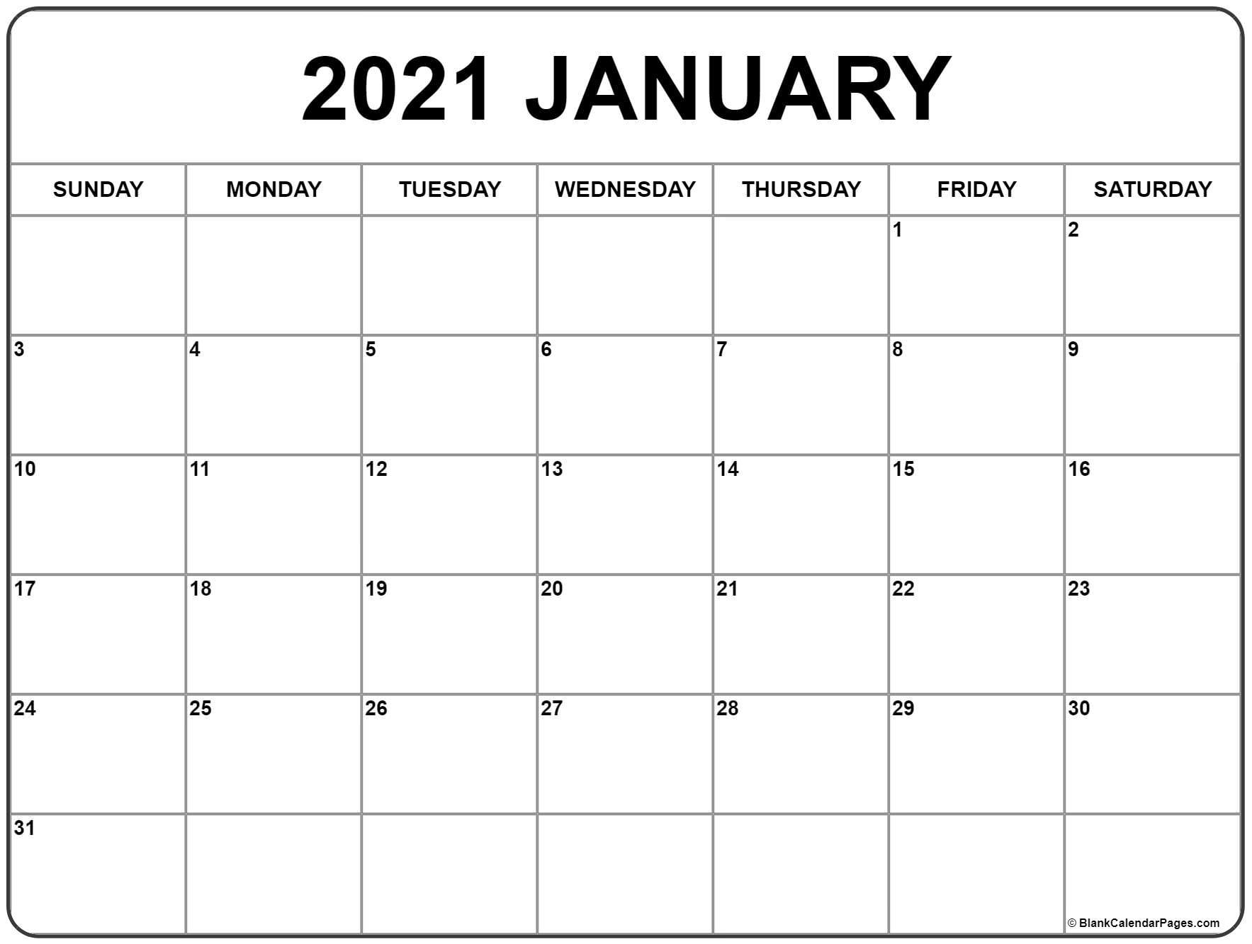 Free January 2021 Printable Calendar Template