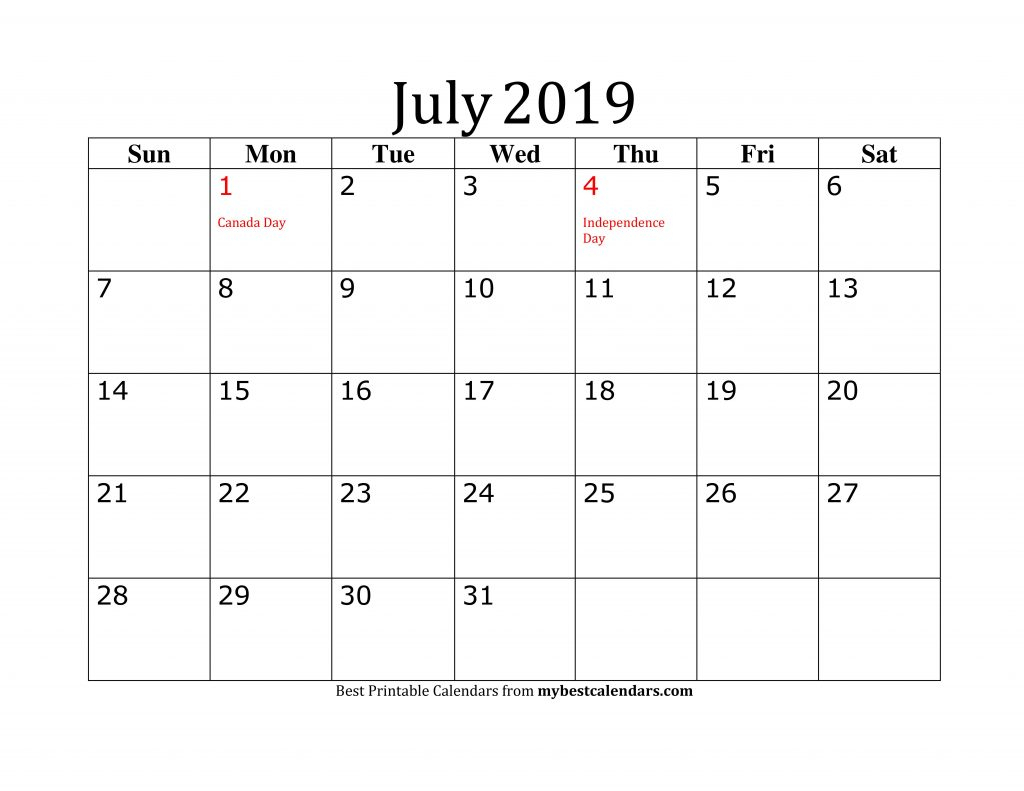 Free July 2019 Printable Calendar Blank Templates