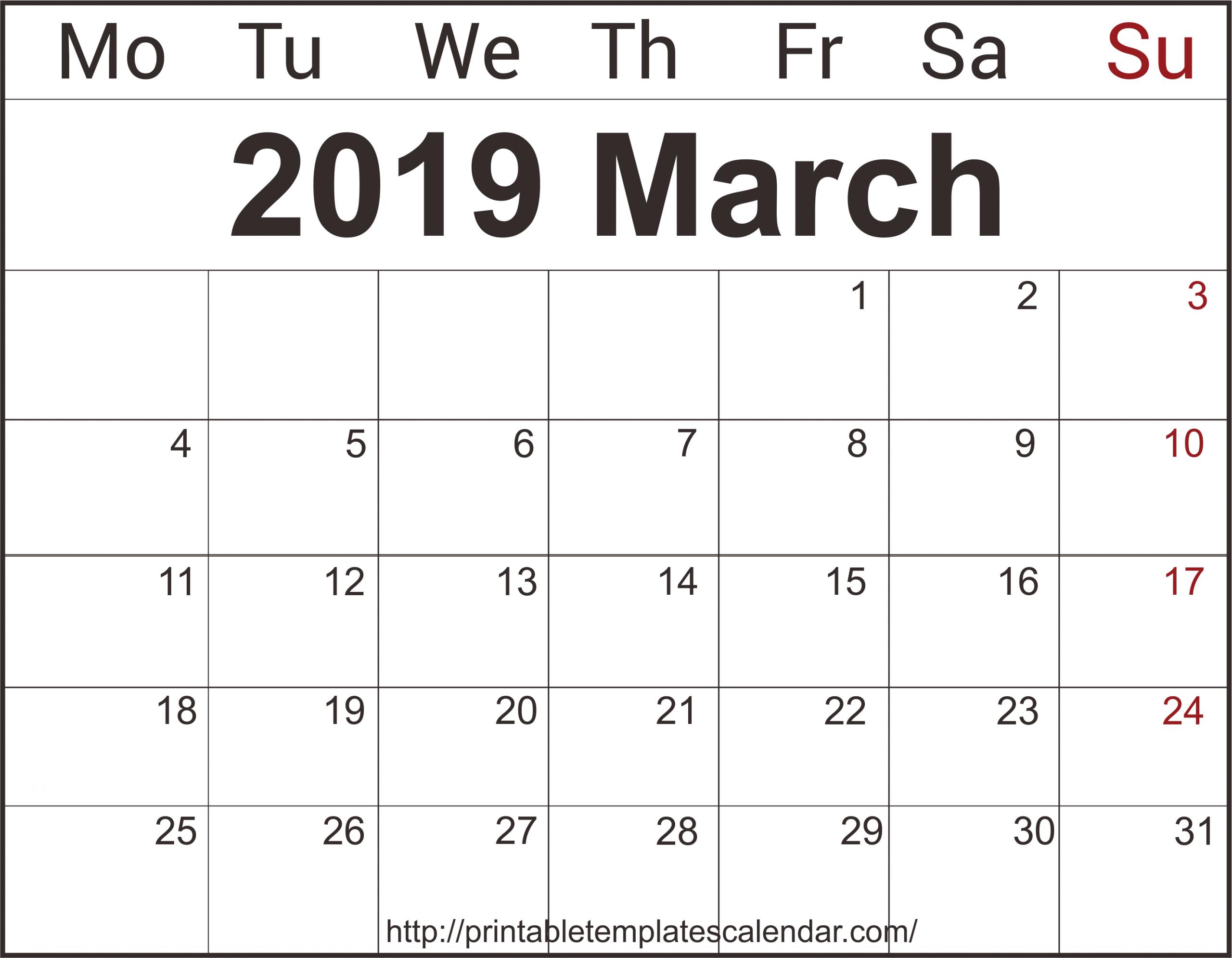Free March 2019 Printable Calendar Templates Pdf Excel