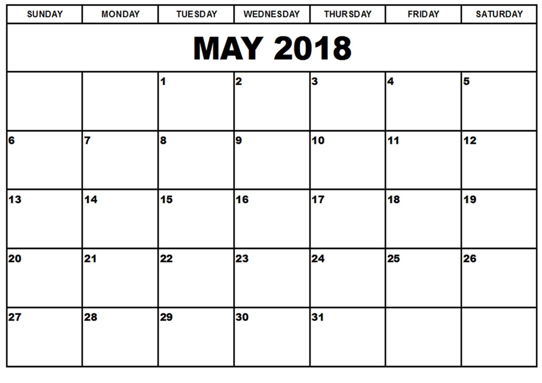 Free May 2018 Calendar In Printable Format Templates