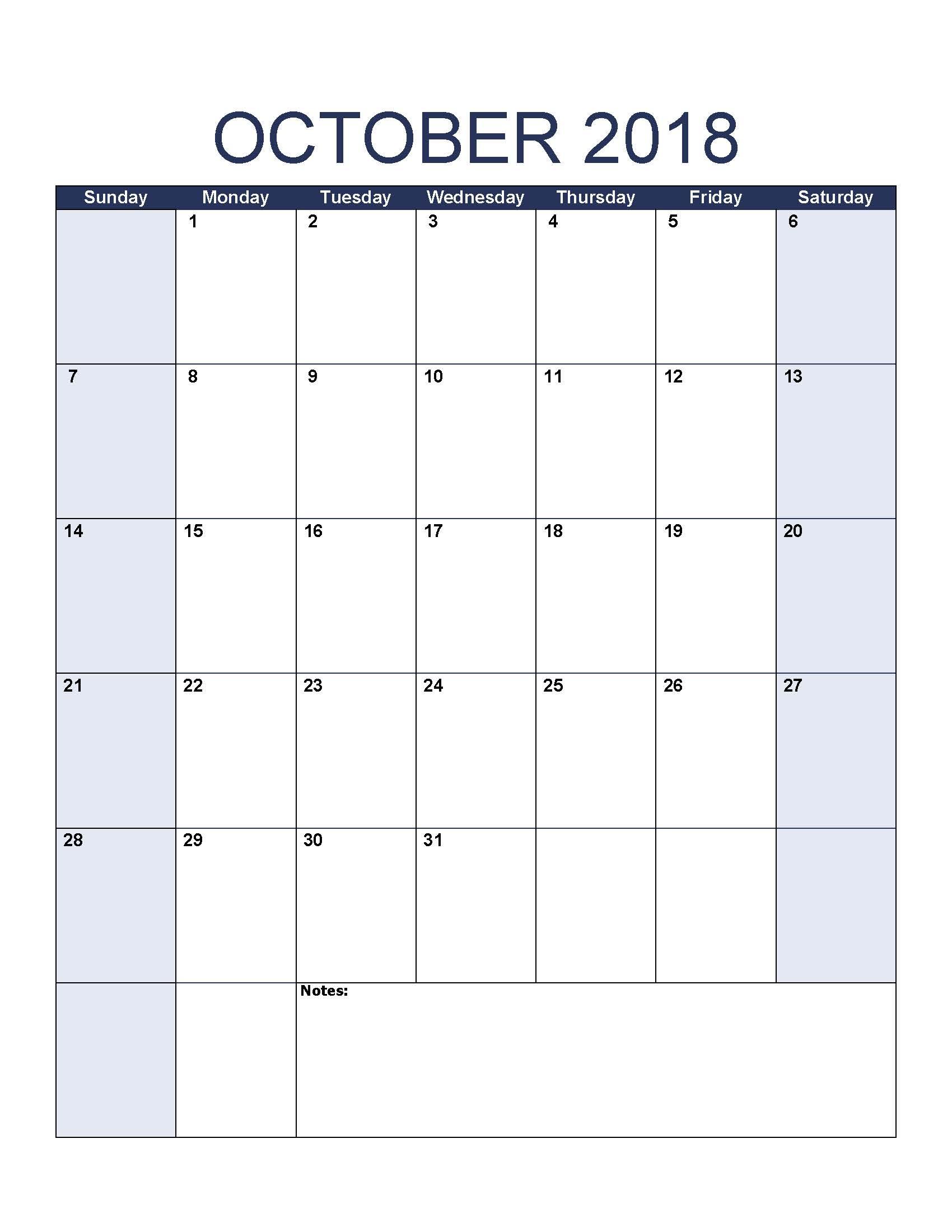 Free October 2018 Calendar In Printable Format Templates
