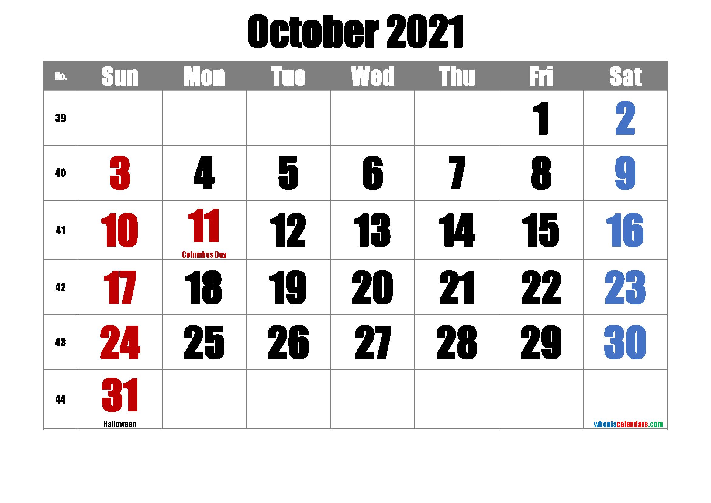 Free October 2021 Calendar Printable 6 Templates Free
