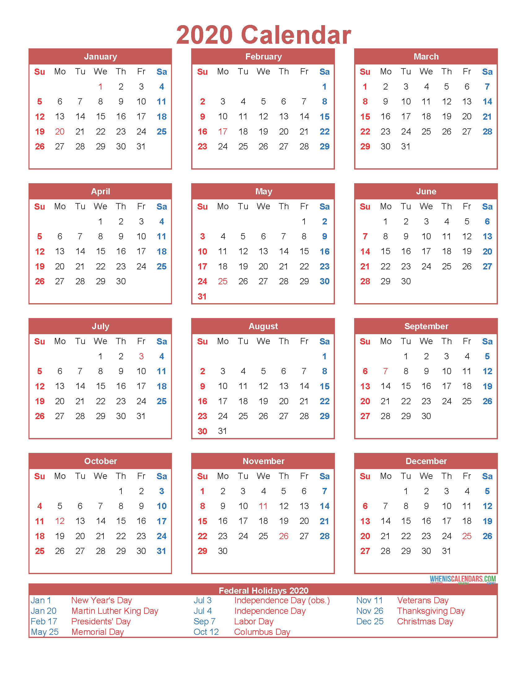 Free Printable 12 Month Calendar On One Page 2020 Free
