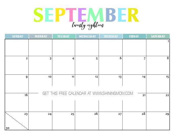 Free Printable 2018 Calendar Pretty And Colorful