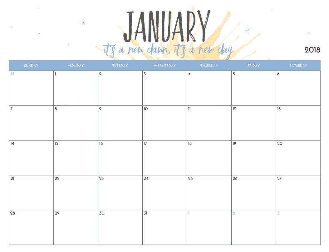 Free Printable 2018 Monthly Calendar Latest Calendar