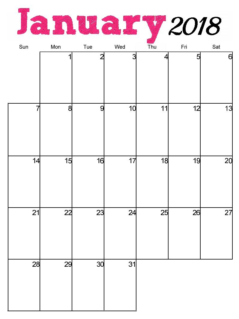 Free Printable 2018 Vertical Monthly Calendar Latest
