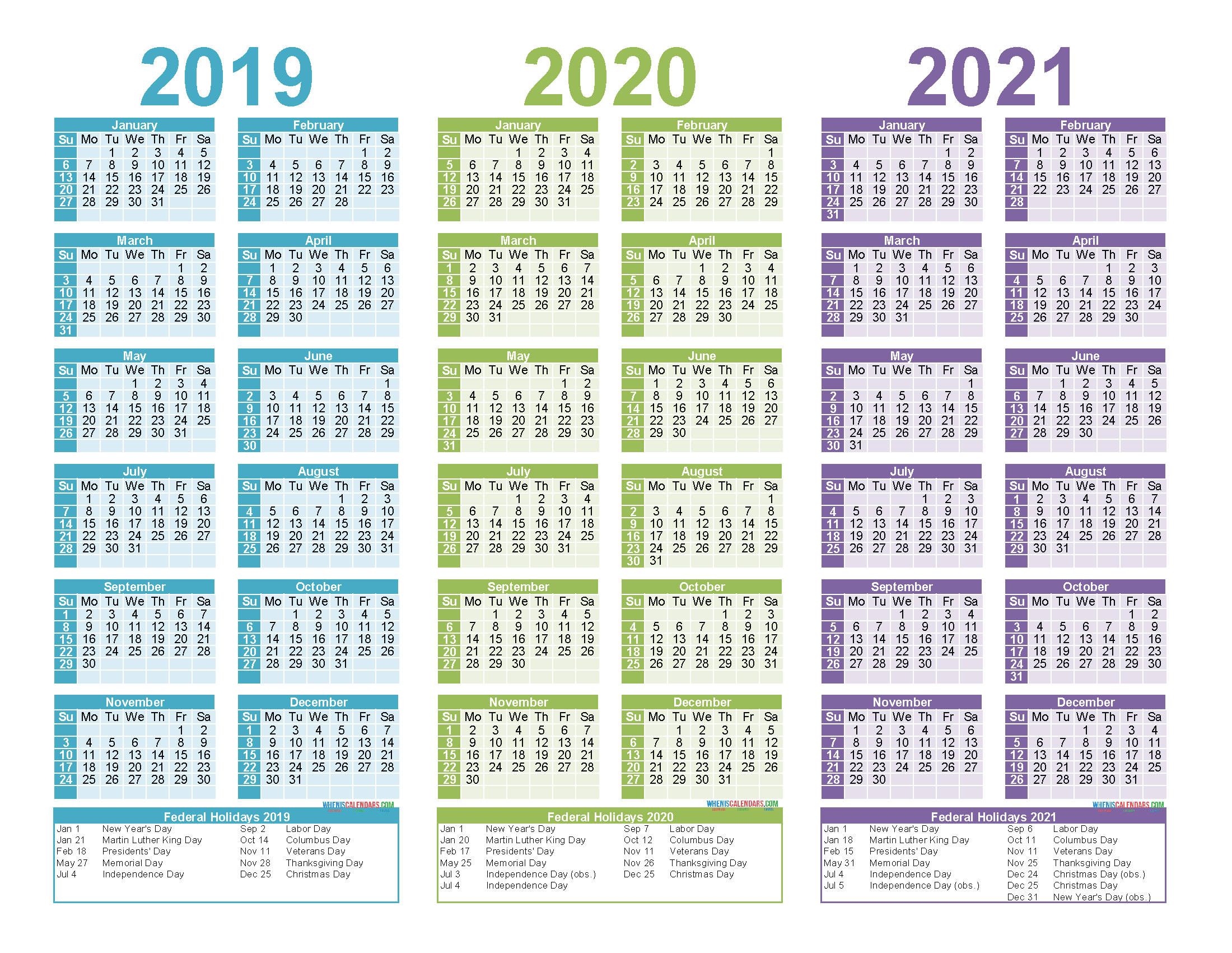Free Printable 2019 2020 2021 Calendar With Holidays 2