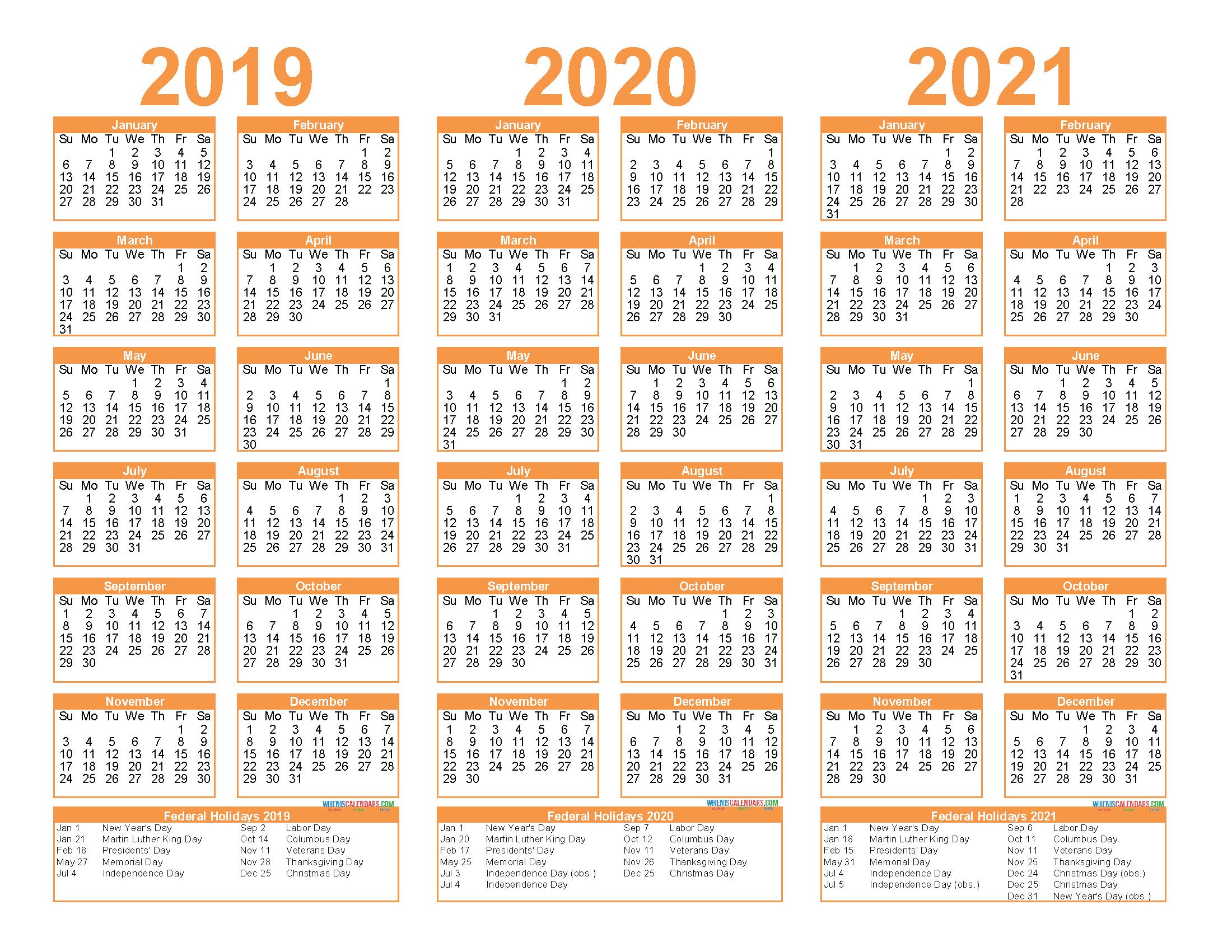 Free Printable 2019 2020 2021 Calendar With Holidays 3