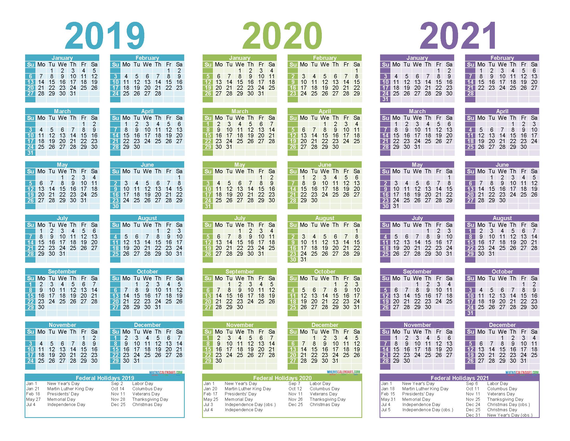Free Printable 2019 2020 2021 Calendar With Holidays