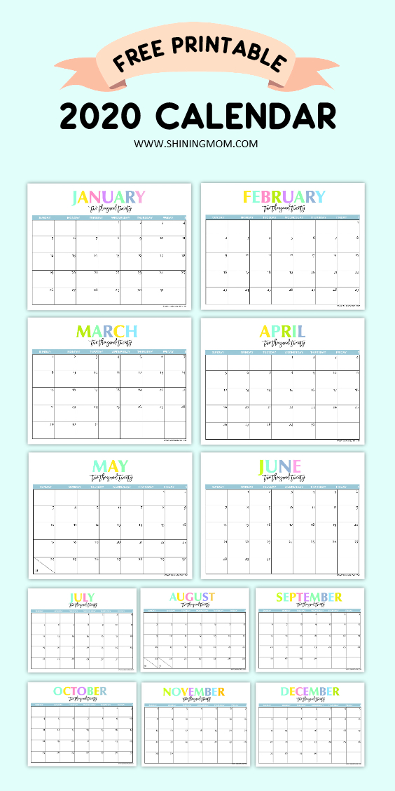 Free Printable 2020 Calendar So Beautiful Colorful 1