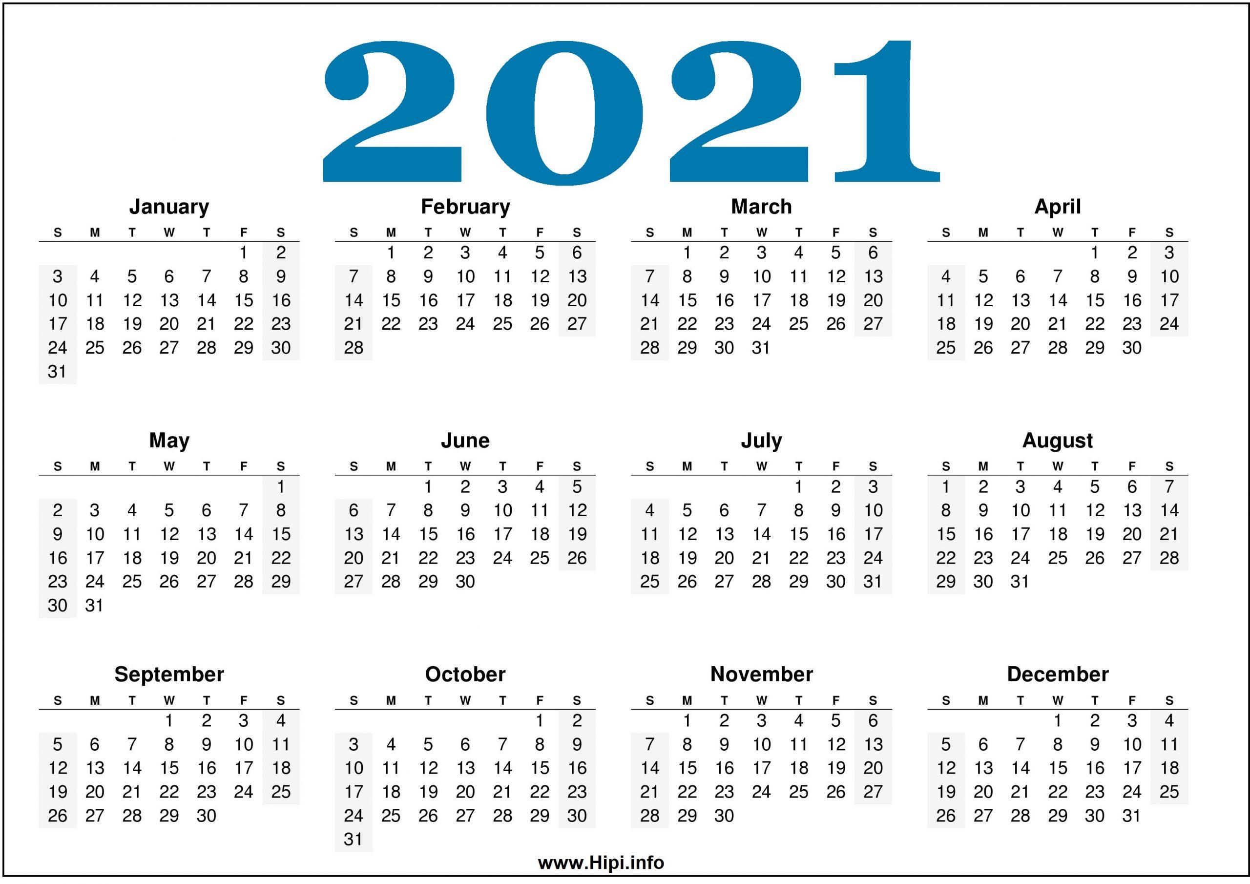 Free Printable 2021 Calendars Horizontal Hipi 1