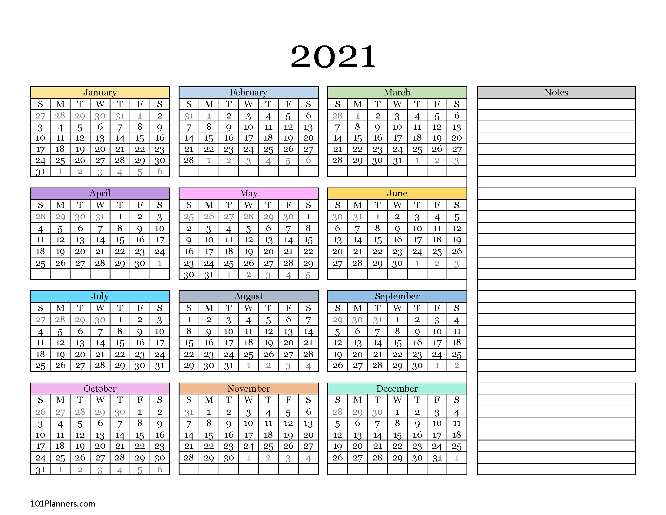 Free Printable 2021 Yearly Calendar At A Glance 101 1