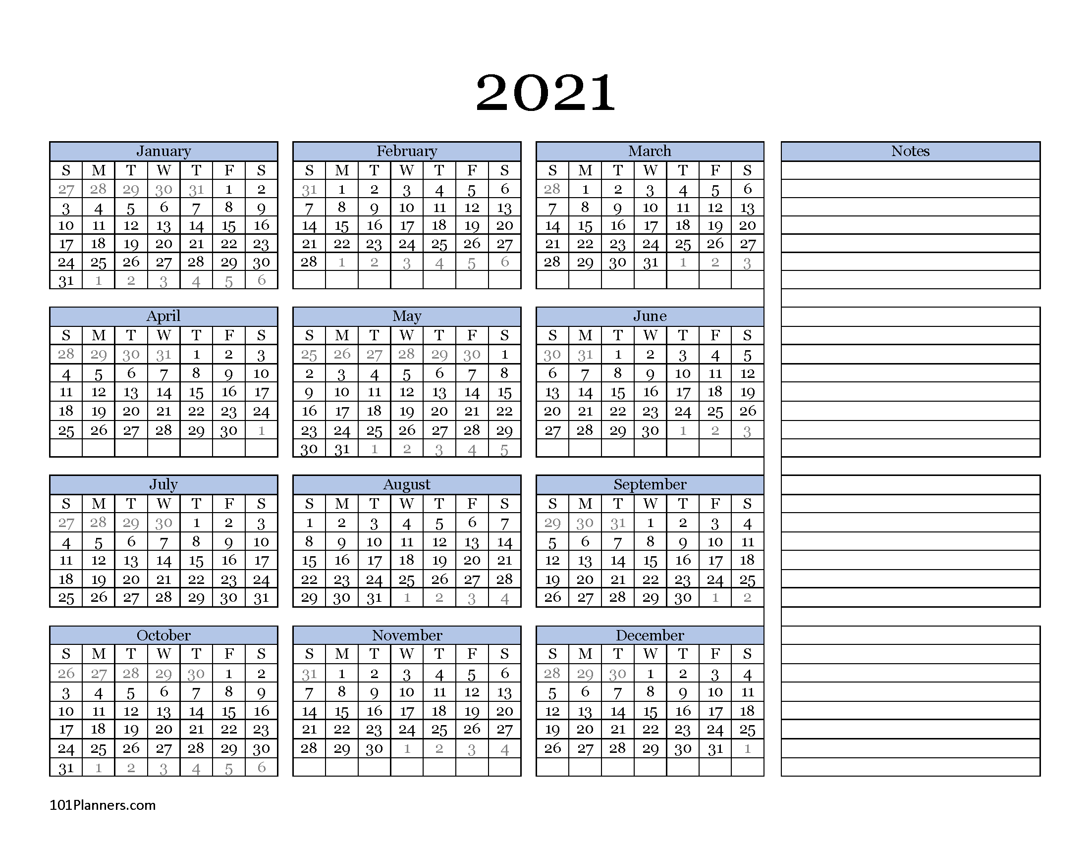 Free Printable 2021 Yearly Calendar At A Glance 101 2