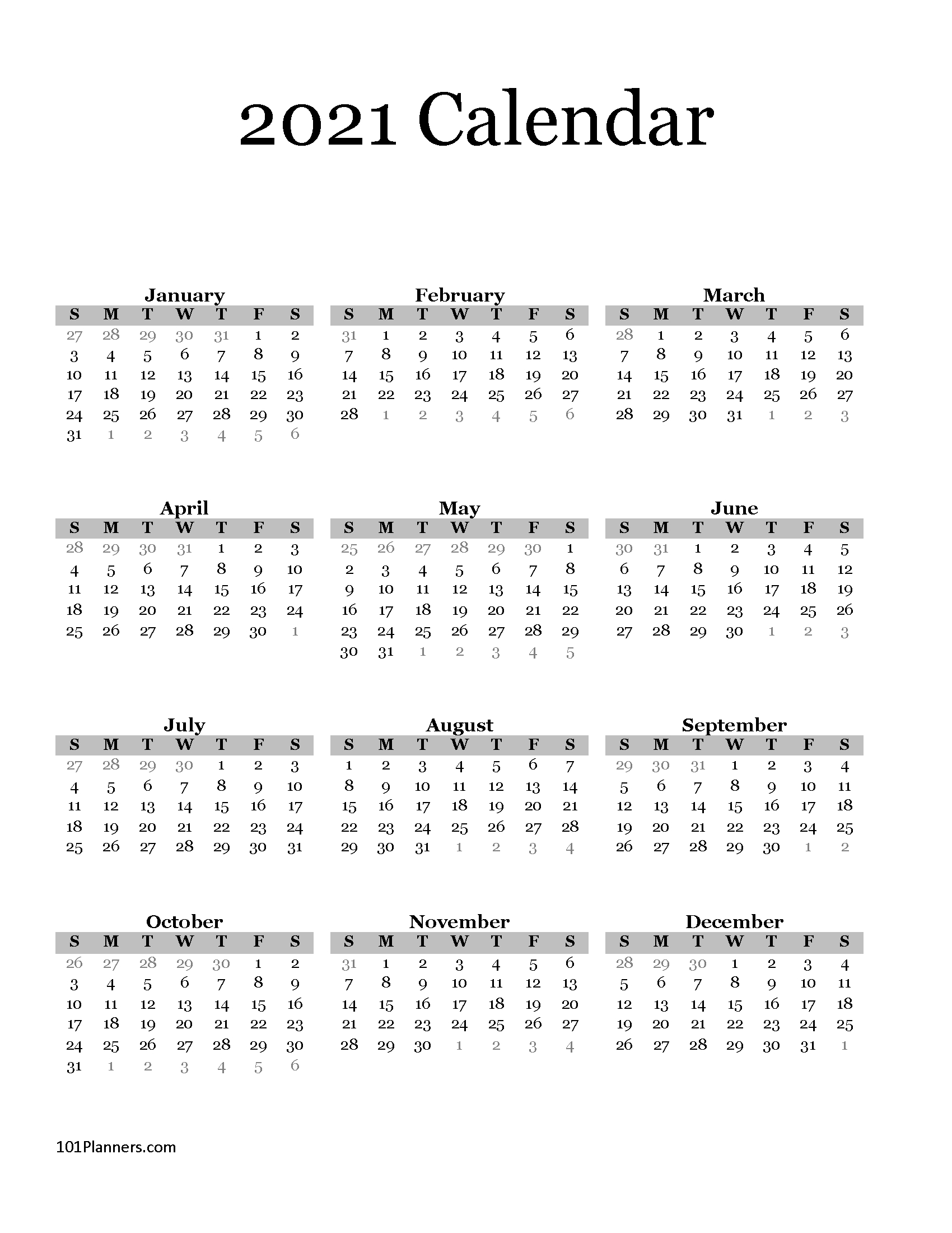 Free Printable 2021 Yearly Calendar At A Glance 101