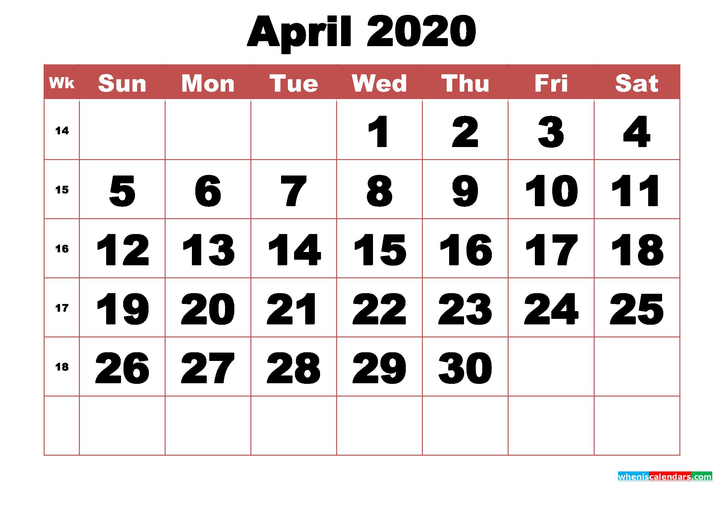 Free Printable April 2020 Calendar With Week Numbers