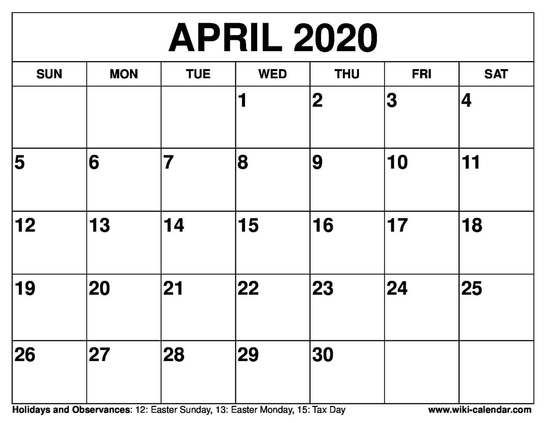 Free Printable April 2020 Calendars