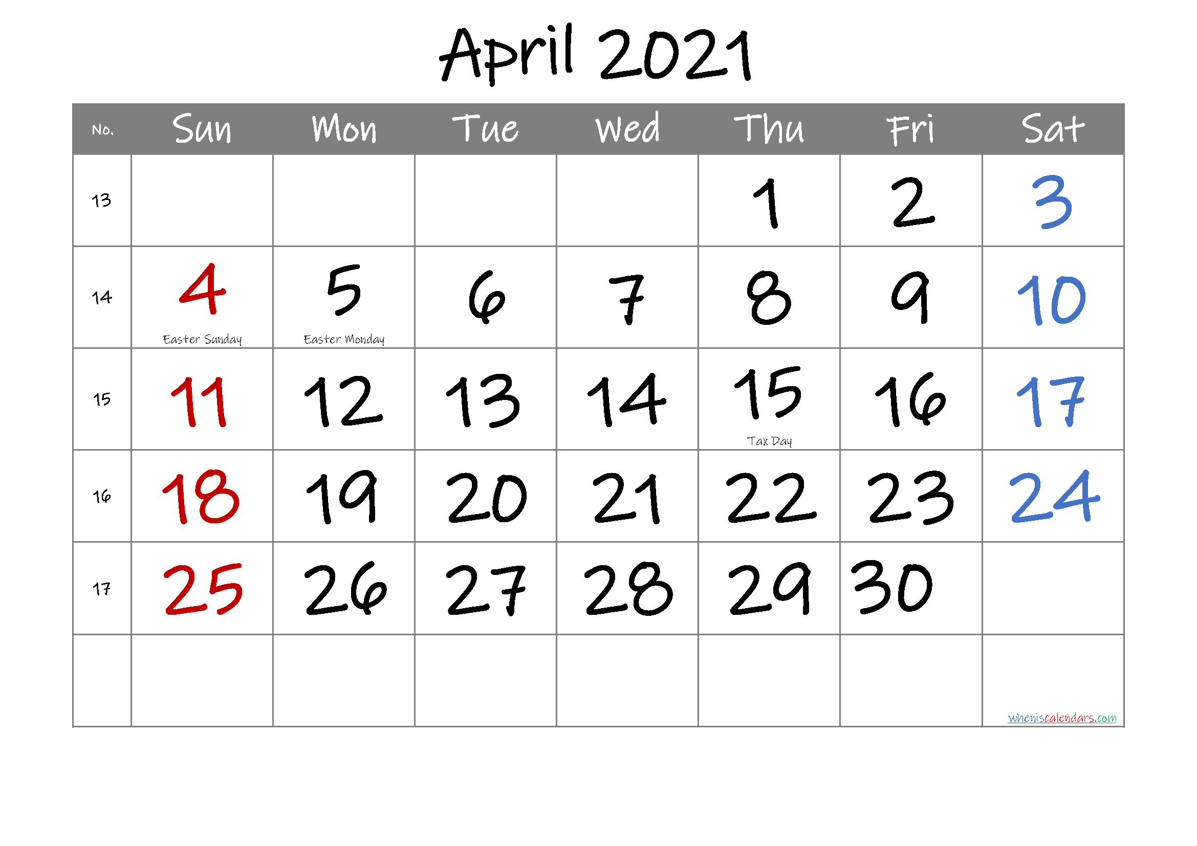 Free Printable April 2021 Calendar In 2020 Calendar