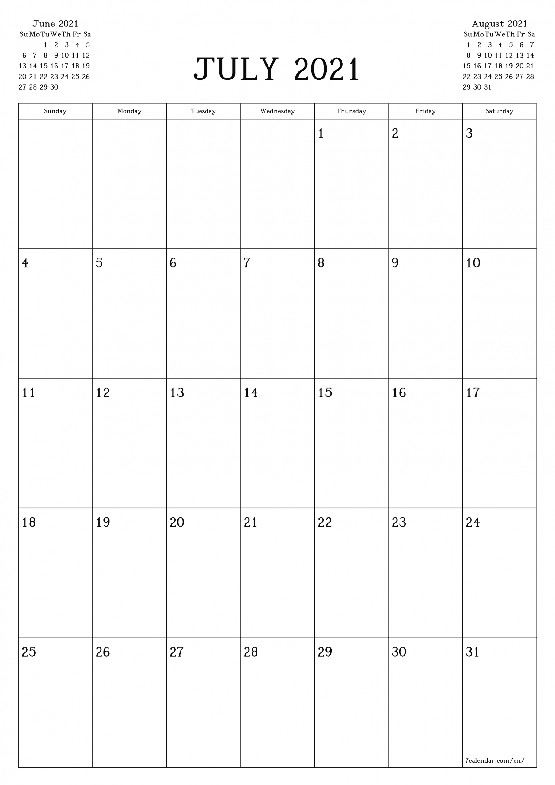 Free Printable Blank Monthly Calendar And Planner For July