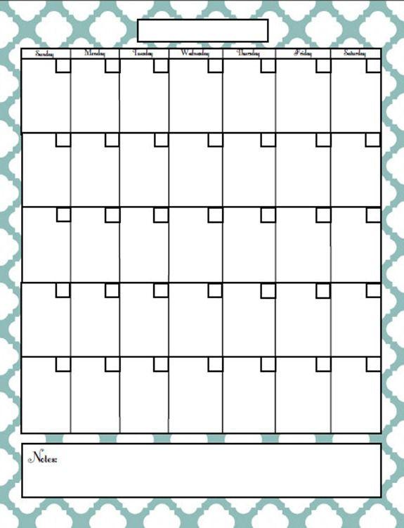 Free Printable Blog Planner Blank Calendar Pages 1